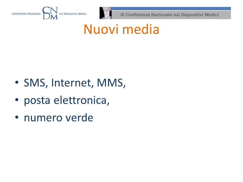 Nuovi media SMS, Internet, MMS, posta elettronica, numero verde