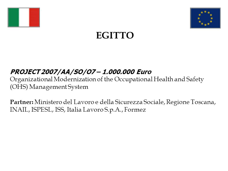 EGITTO PROJECT 2007/AA/SO/O7 – 1.000.000 Euro