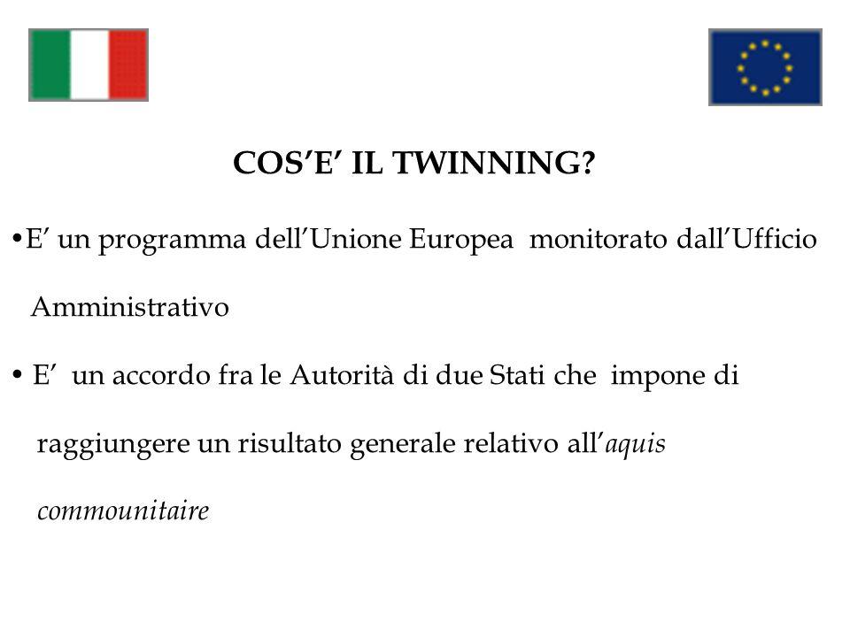 COS'E' IL TWINNING E' un programma dell'Unione Europea monitorato dall'Ufficio. Amministrativo.