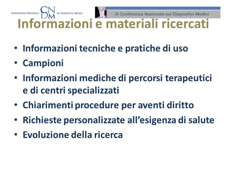 Informazioni e materiali ricercati