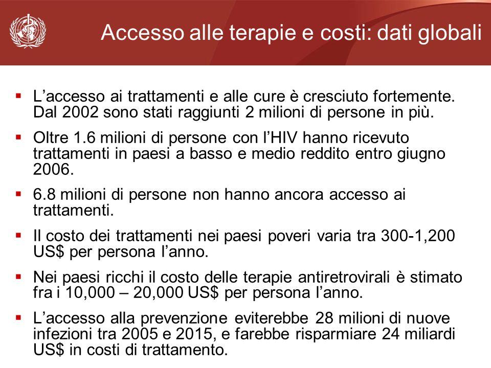 Accesso alle terapie e costi: dati globali