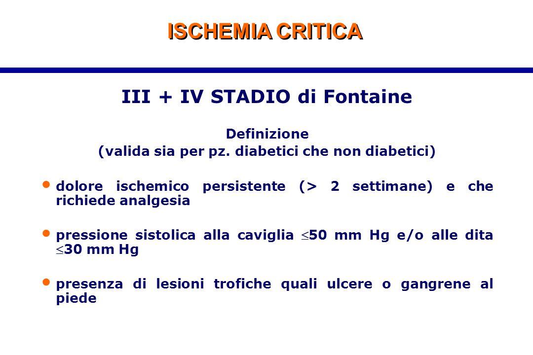 ISCHEMIA CRITICA III + IV STADIO di Fontaine Definizione