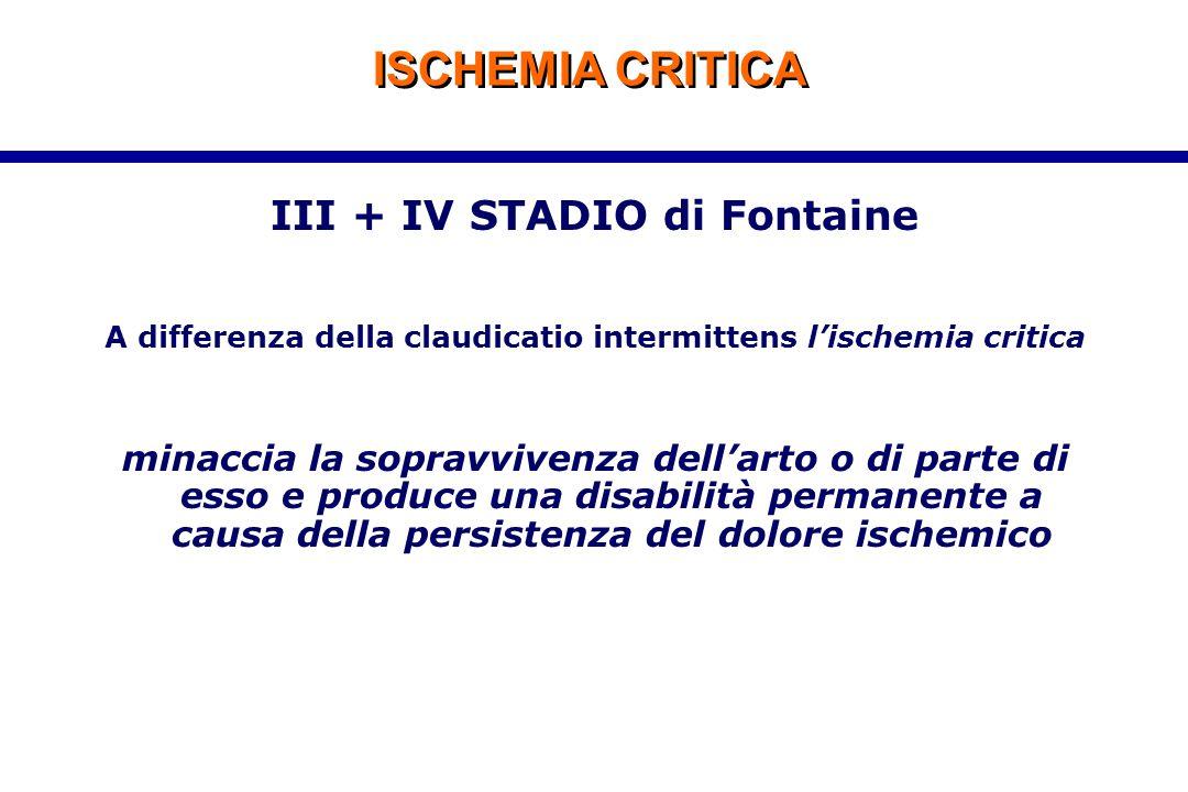 ISCHEMIA CRITICA III + IV STADIO di Fontaine