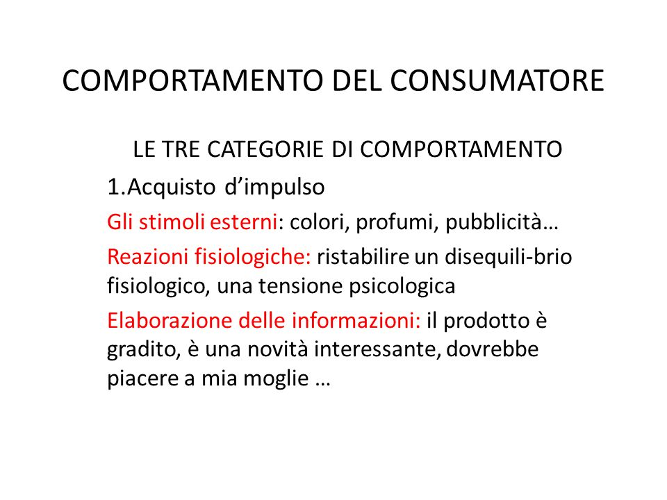 COMPORTAMENTO DEL CONSUMATORE