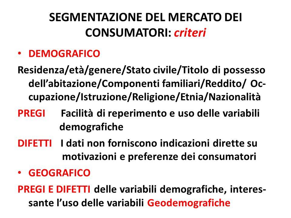 SEGMENTAZIONE DEL MERCATO DEI CONSUMATORI: criteri