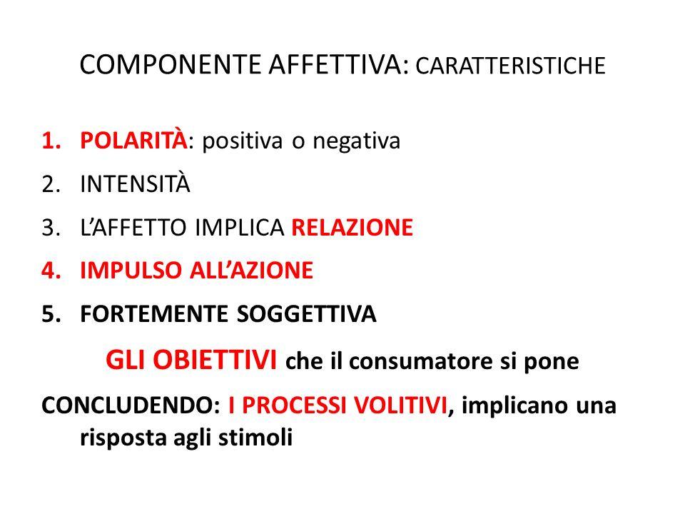 COMPONENTE AFFETTIVA: CARATTERISTICHE