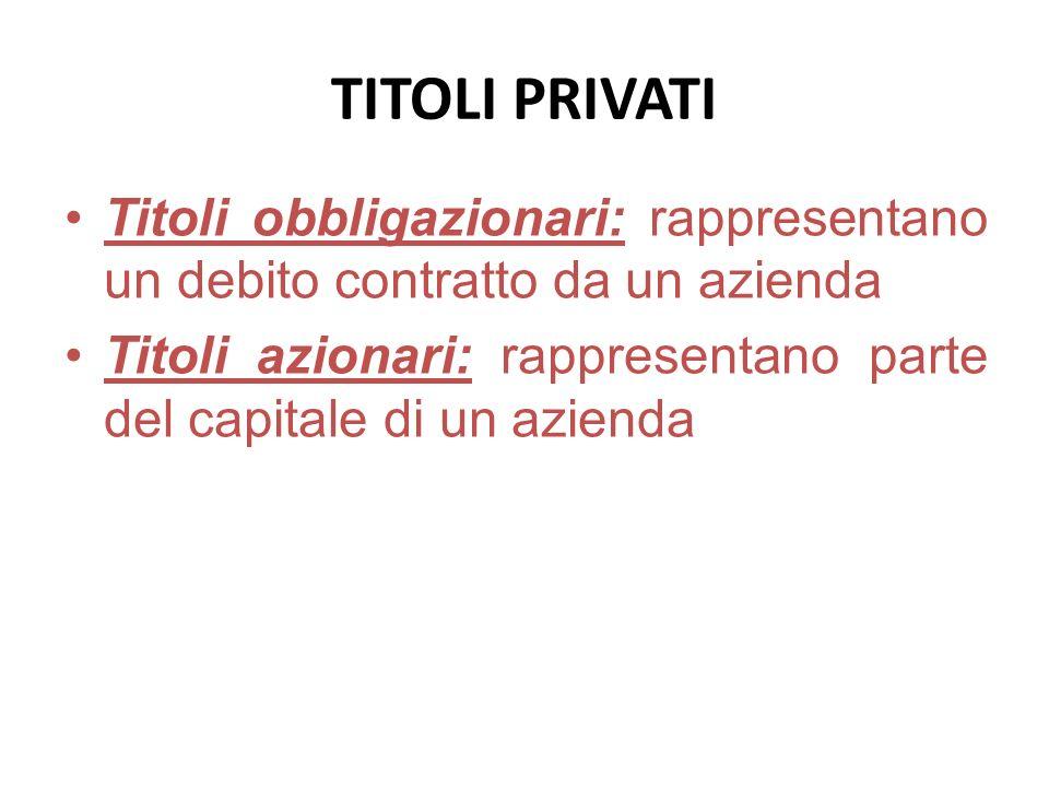 TITOLI PRIVATI Titoli obbligazionari: rappresentano un debito contratto da un azienda.
