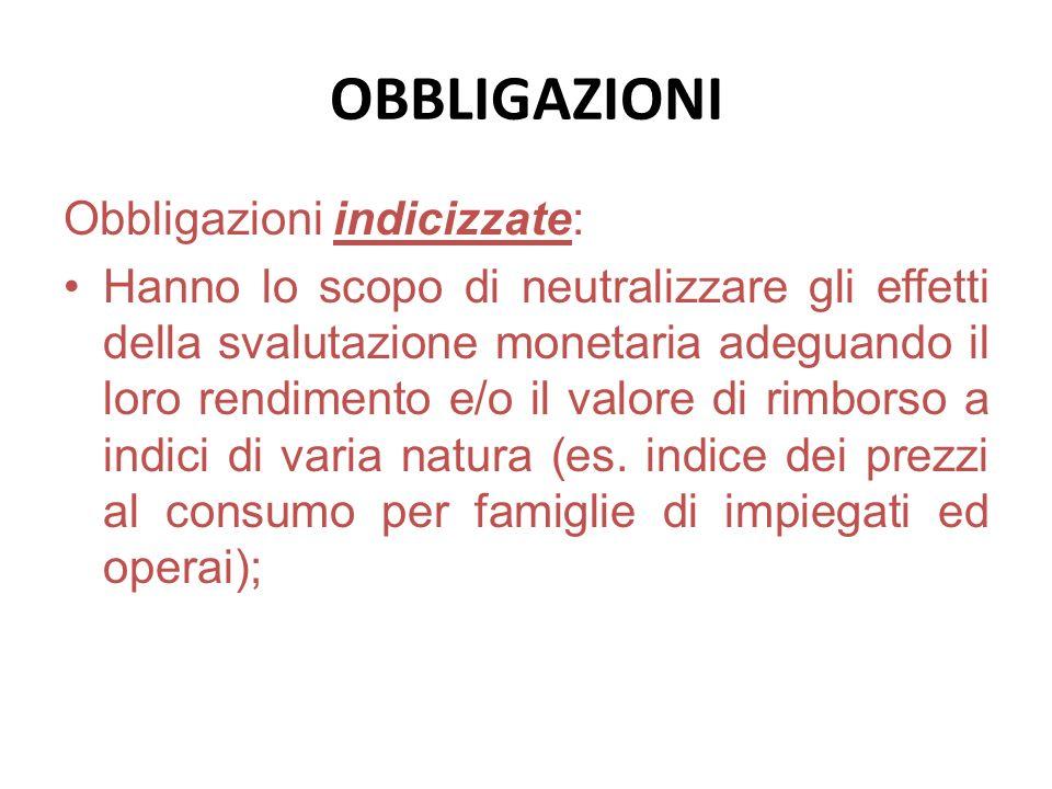OBBLIGAZIONI Obbligazioni indicizzate: