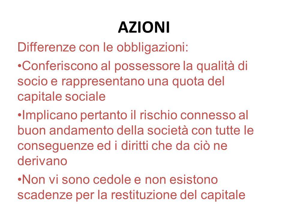 AZIONI Differenze con le obbligazioni: