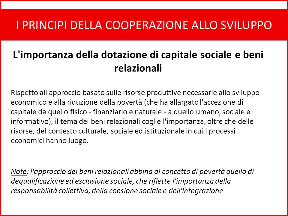 L importanza della dotazione di capitale sociale e beni relazionali
