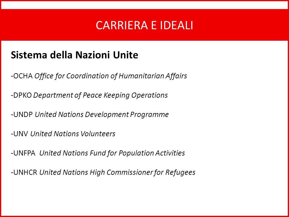 CARRIERA E IDEALI Sistema della Nazioni Unite