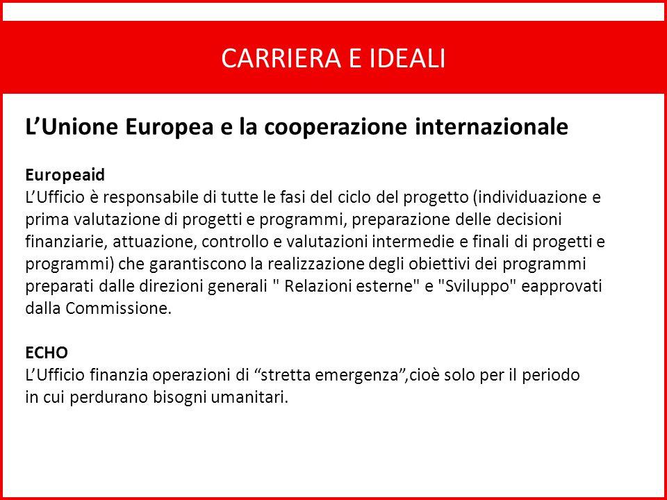 CARRIERA E IDEALI L'Unione Europea e la cooperazione internazionale