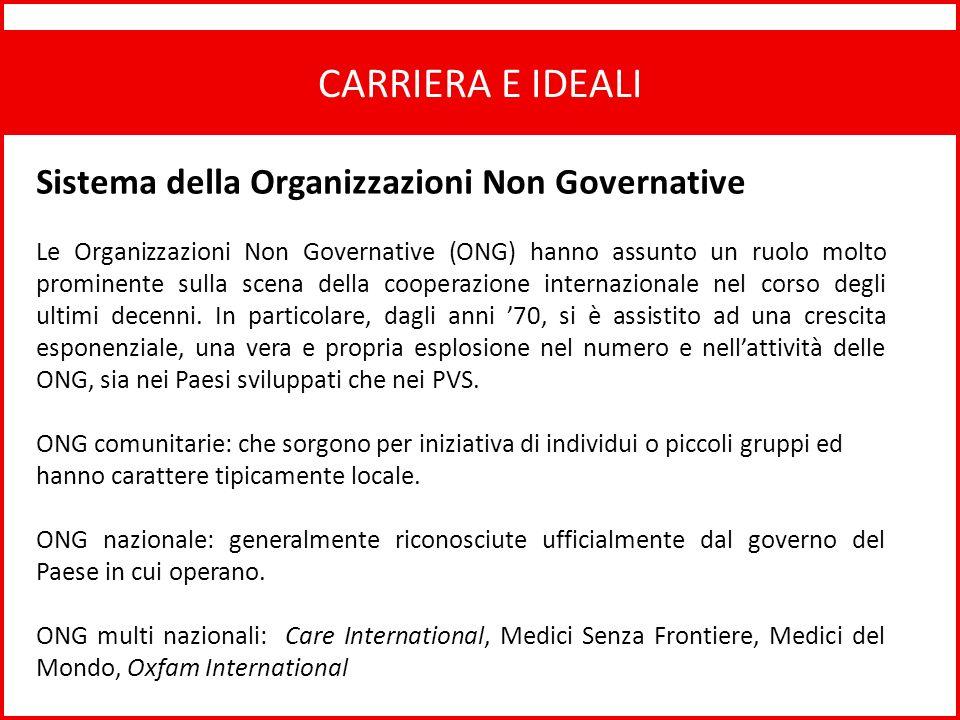 CARRIERA E IDEALI Sistema della Organizzazioni Non Governative