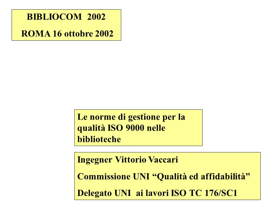 BIBLIOCOM 2002ROMA 16 ottobre 2002. Le norme di gestione per la qualità ISO 9000 nelle biblioteche.