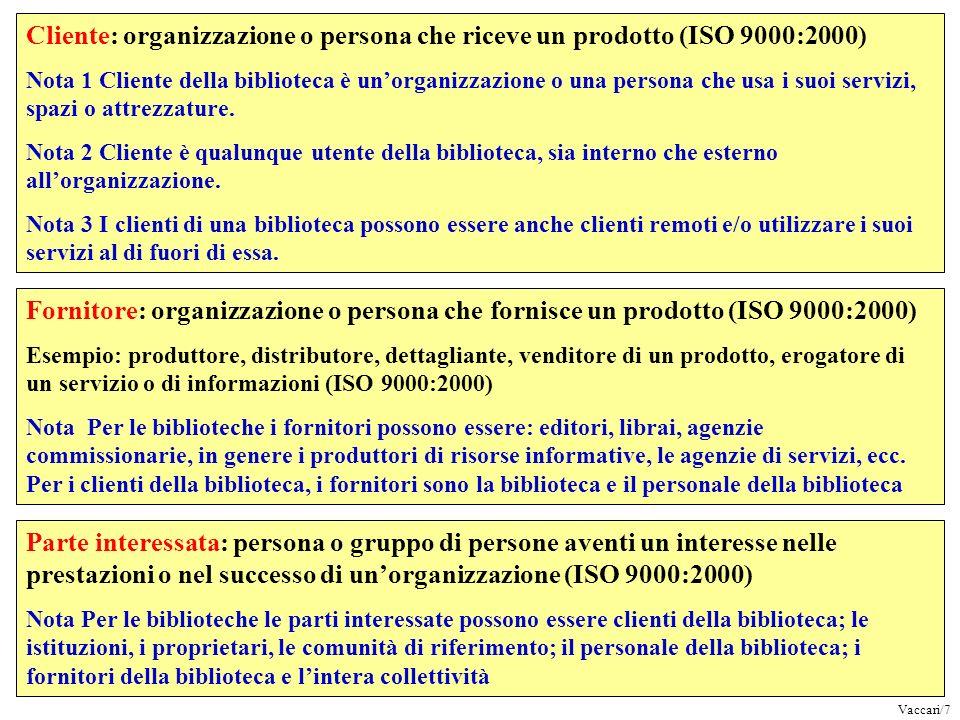 Cliente: organizzazione o persona che riceve un prodotto (ISO 9000:2000)