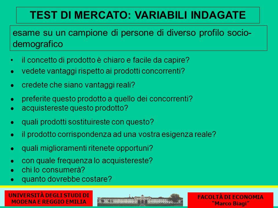 TEST DI MERCATO: VARIABILI INDAGATE