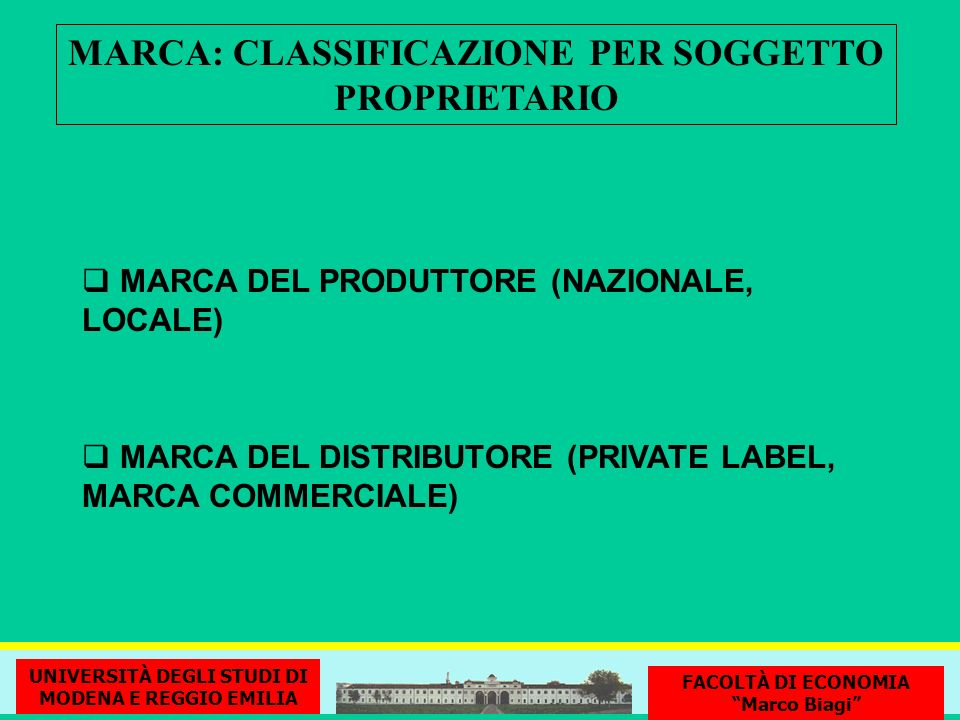MARCA: CLASSIFICAZIONE PER SOGGETTO PROPRIETARIO
