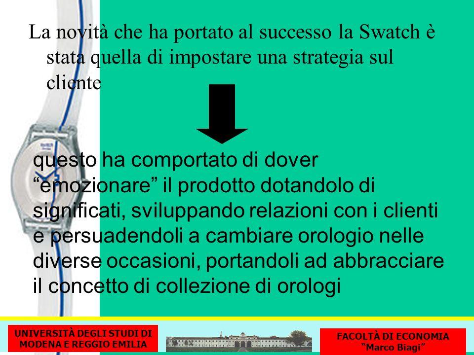 La novità che ha portato al successo la Swatch è stata quella di impostare una strategia sul cliente