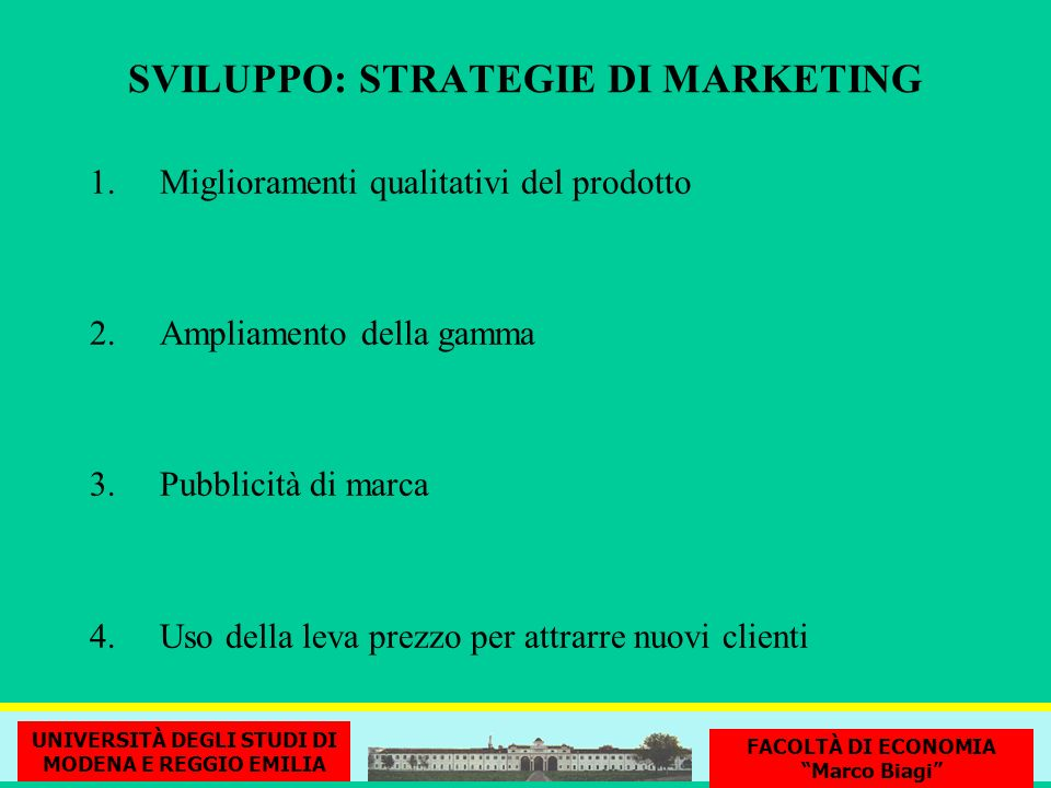 SVILUPPO: STRATEGIE DI MARKETING