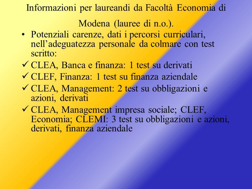 Informazioni per laureandi da Facoltà Economia di Modena (lauree di n