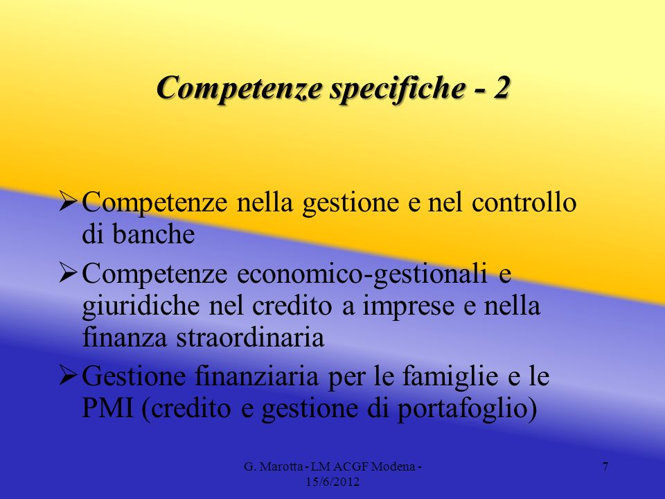 Competenze specifiche - 2