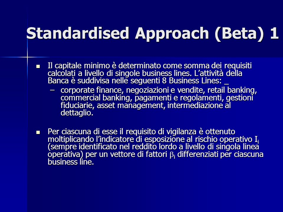 Standardised Approach (Beta) 1