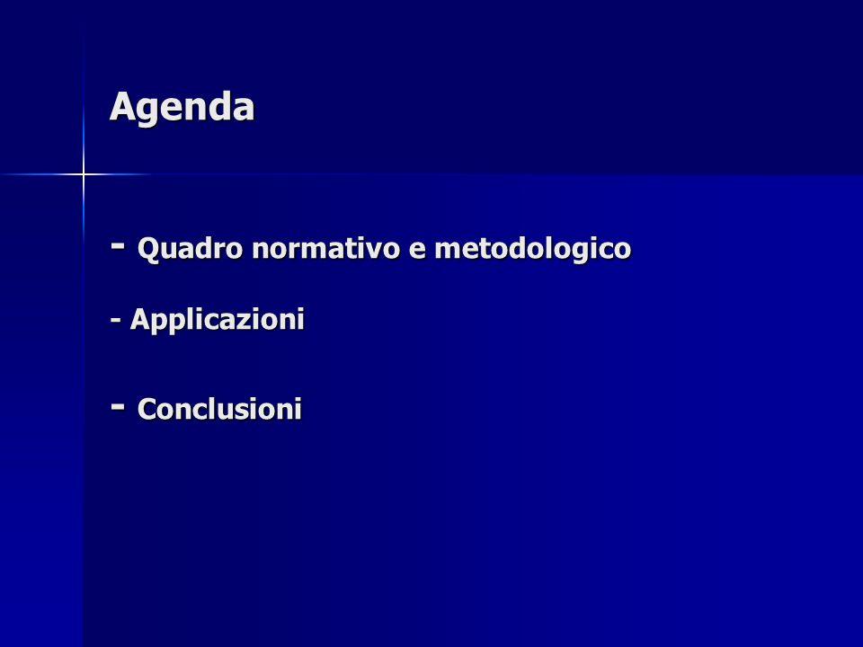 Agenda - Quadro normativo e metodologico - Applicazioni - Conclusioni