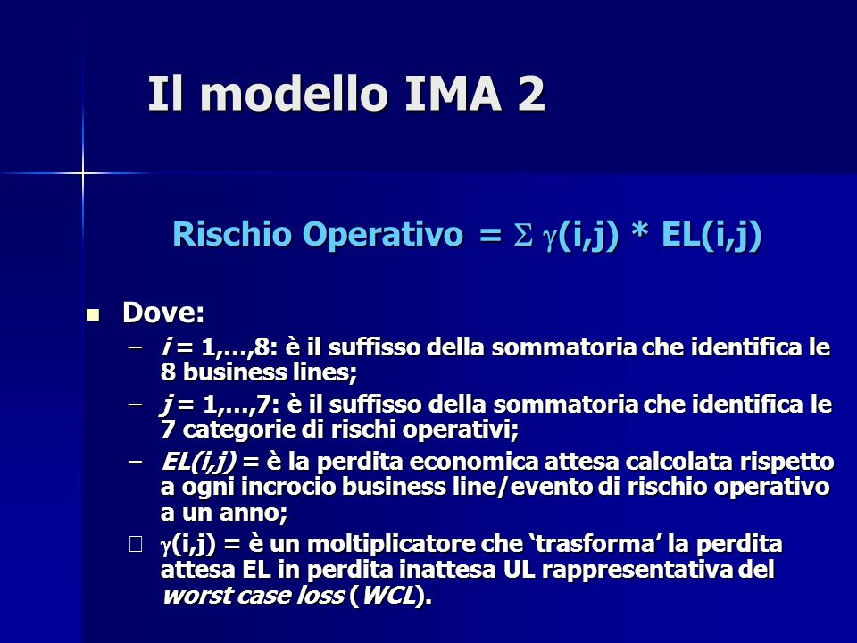 Rischio Operativo = S g(i,j) * EL(i,j)