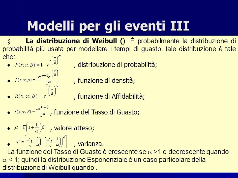 Modelli per gli eventi III