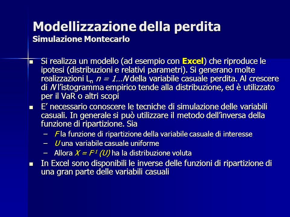 Modellizzazione della perdita Simulazione Montecarlo