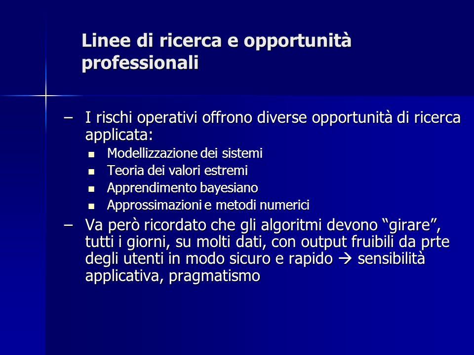 Linee di ricerca e opportunità professionali