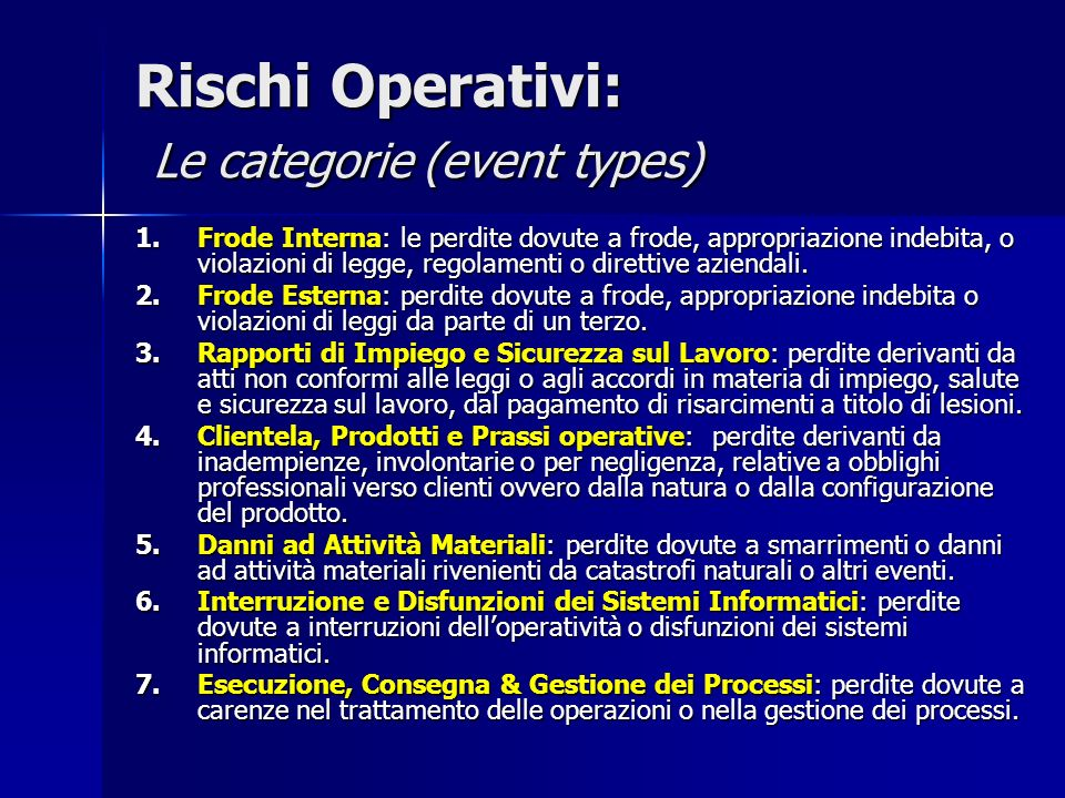 Rischi Operativi: Le categorie (event types)