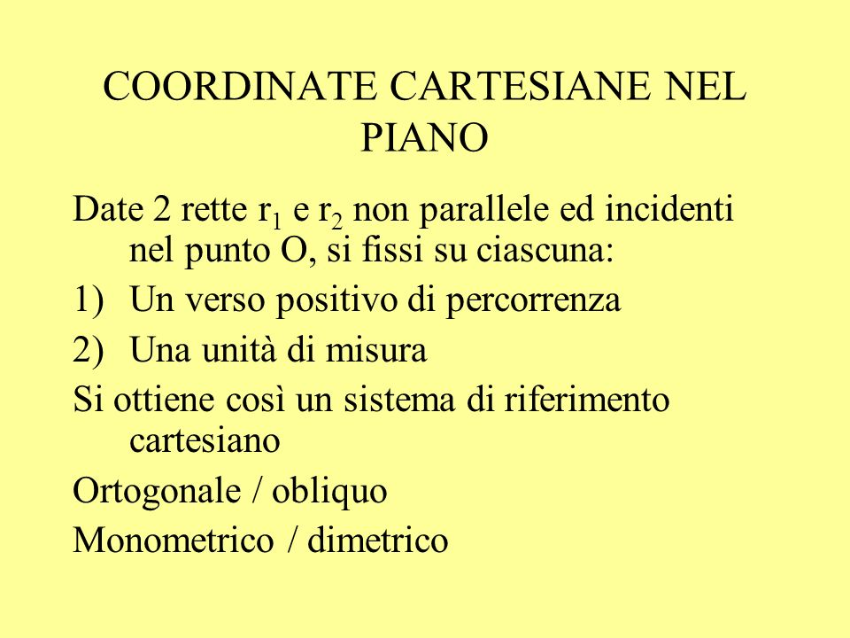 COORDINATE CARTESIANE NEL PIANO