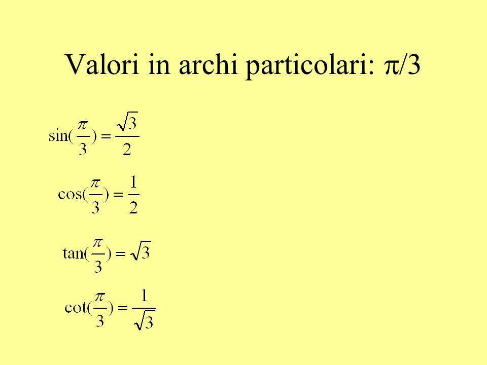 Valori in archi particolari: p/3