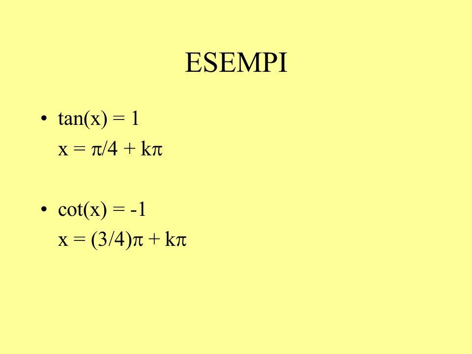ESEMPI tan(x) = 1 x = p/4 + kp cot(x) = -1 x = (3/4)p + kp