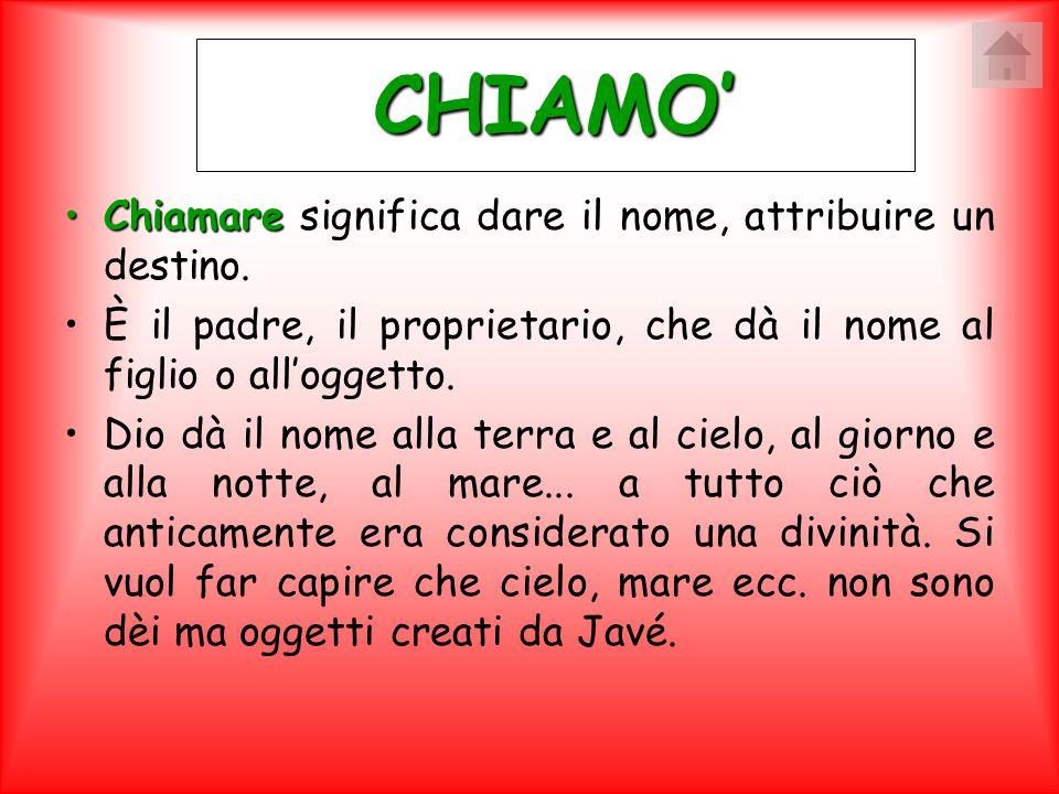 CHIAMO' Chiamare significa dare il nome, attribuire un destino.