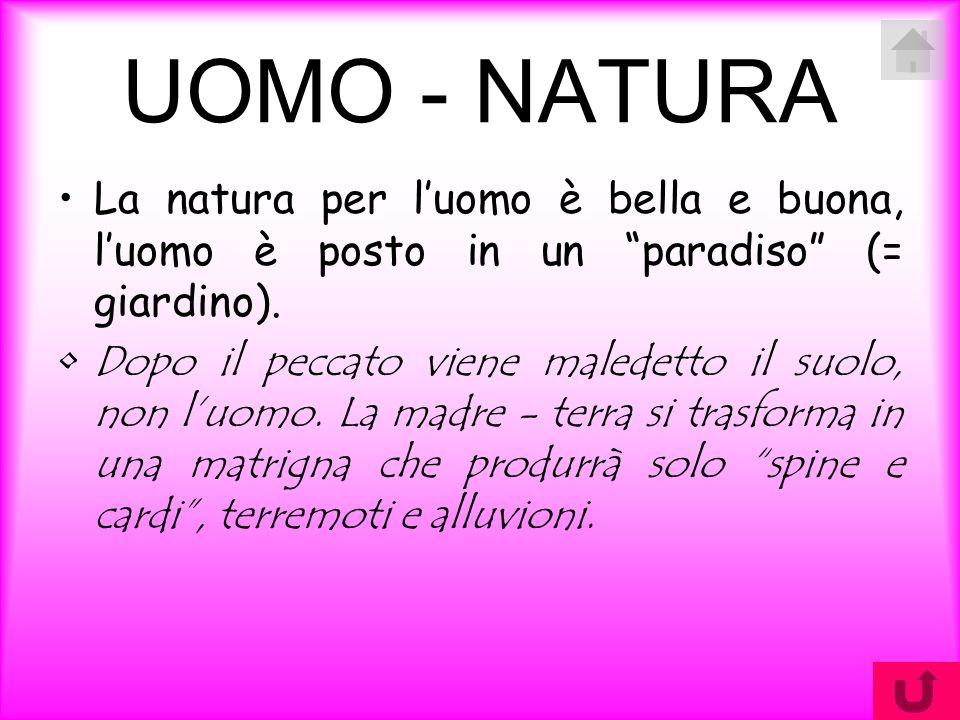 UOMO - NATURA La natura per l'uomo è bella e buona, l'uomo è posto in un paradiso (= giardino).