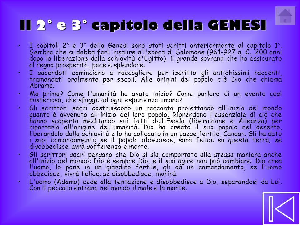 Il 2° e 3° capitolo della GENESI