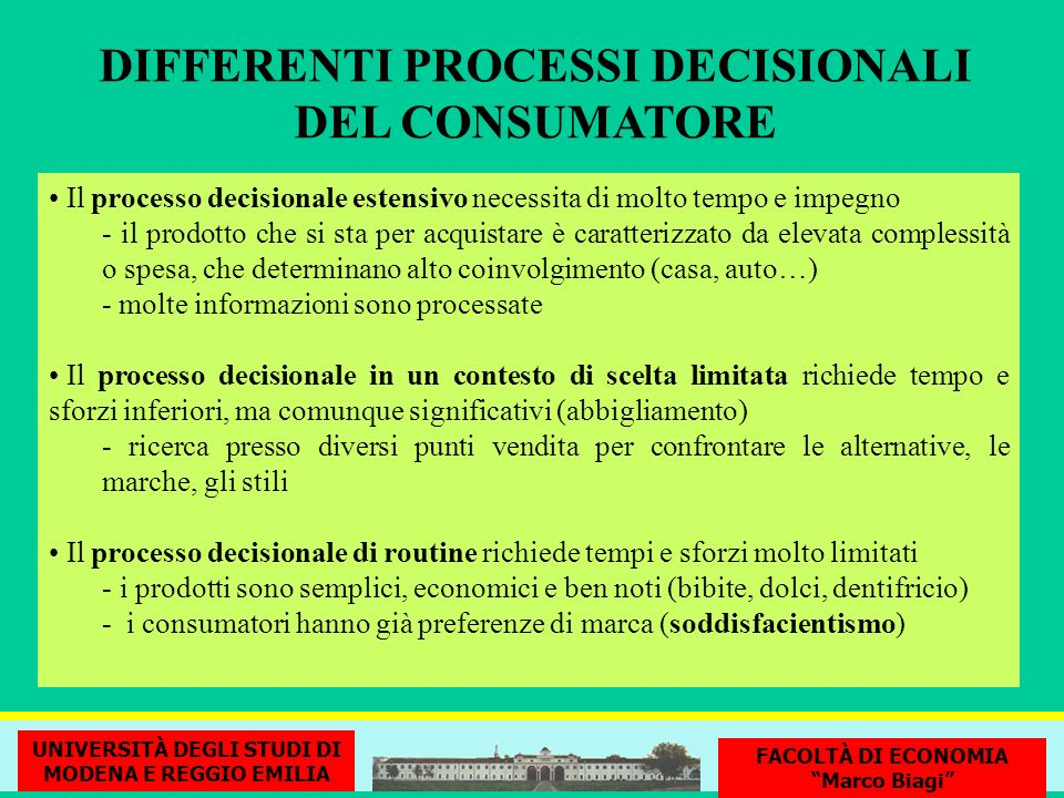 DIFFERENTI PROCESSI DECISIONALI DEL CONSUMATORE