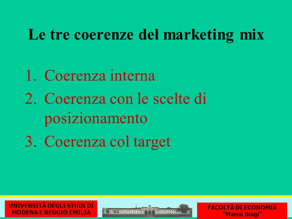 Le tre coerenze del marketing mix