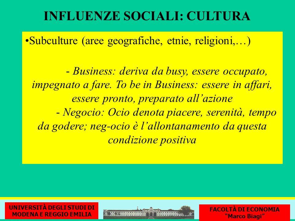 INFLUENZE SOCIALI: CULTURA