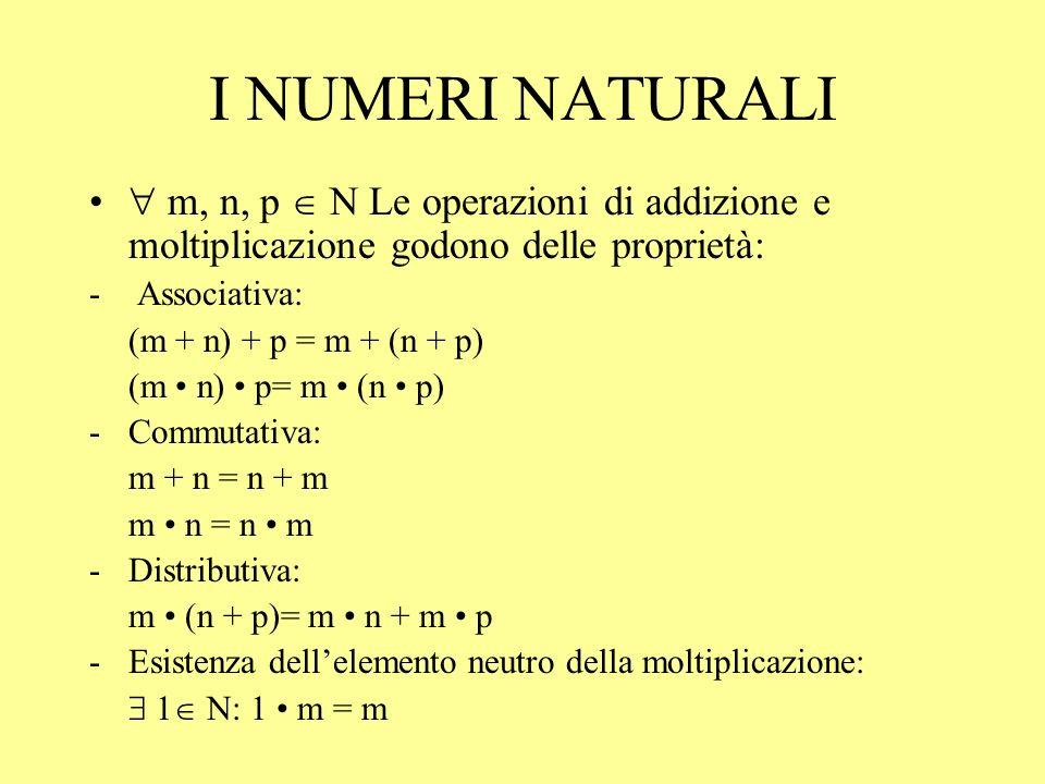I NUMERI NATURALI  m, n, p  N Le operazioni di addizione e moltiplicazione godono delle proprietà: