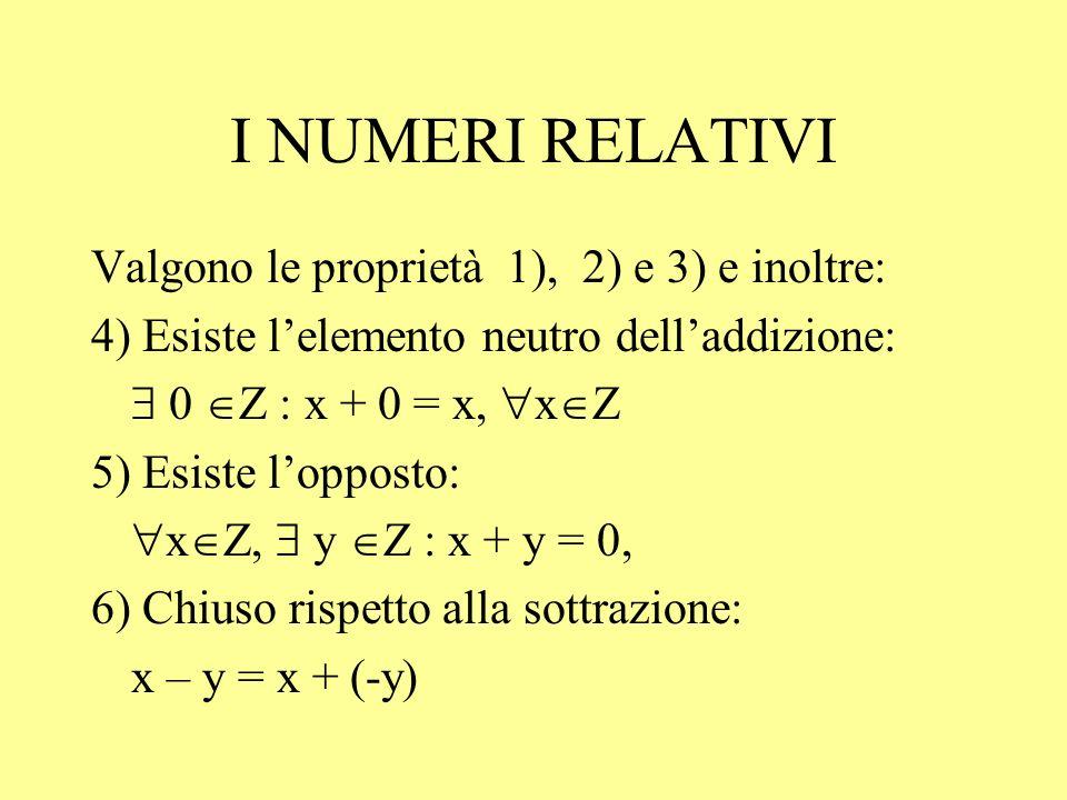 I NUMERI RELATIVI Valgono le proprietà 1), 2) e 3) e inoltre: