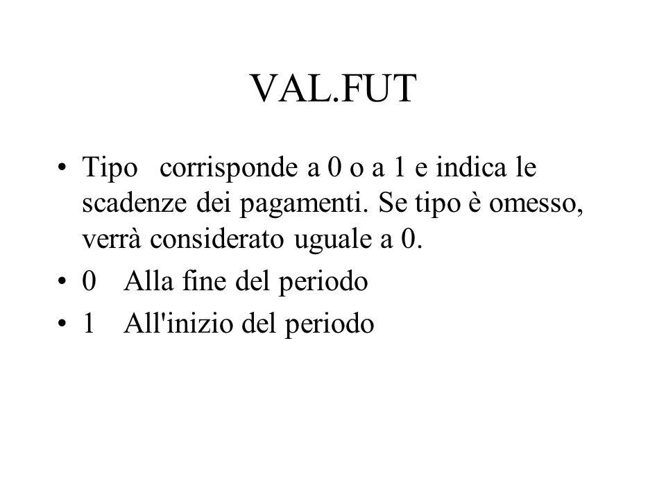 VAL.FUT Tipo corrisponde a 0 o a 1 e indica le scadenze dei pagamenti. Se tipo è omesso, verrà considerato uguale a 0.