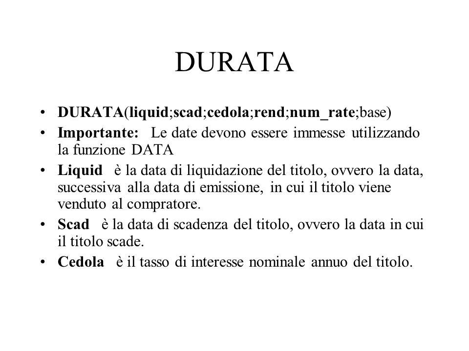 DURATA DURATA(liquid;scad;cedola;rend;num_rate;base)