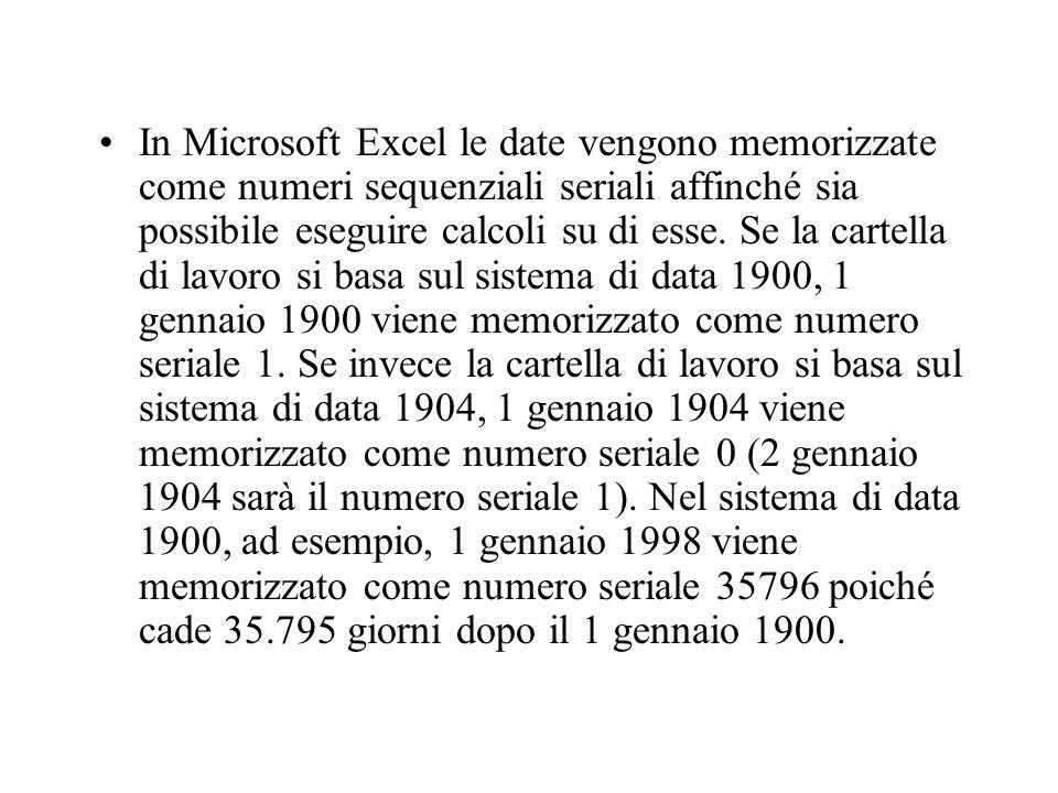 In Microsoft Excel le date vengono memorizzate come numeri sequenziali seriali affinché sia possibile eseguire calcoli su di esse.