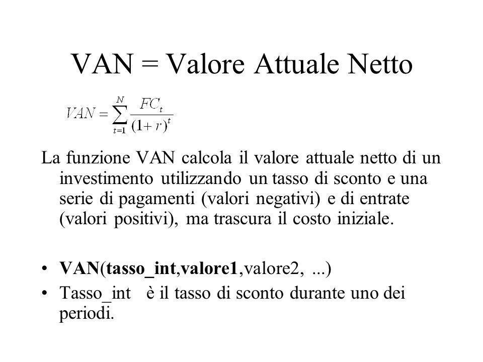 VAN = Valore Attuale Netto