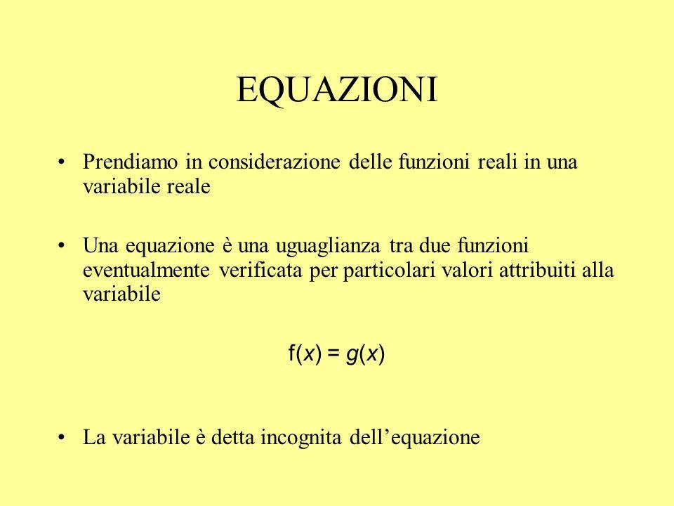 EQUAZIONI Prendiamo in considerazione delle funzioni reali in una variabile reale.
