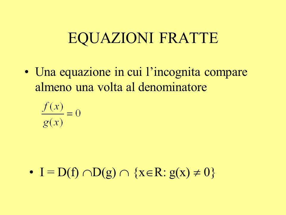 EQUAZIONI FRATTE Una equazione in cui l'incognita compare almeno una volta al denominatore.