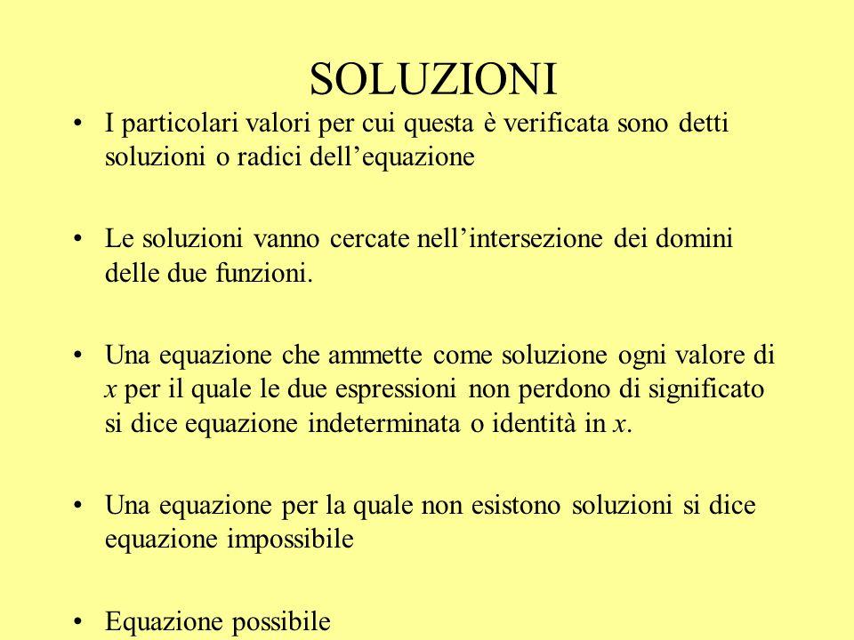 SOLUZIONI I particolari valori per cui questa è verificata sono detti soluzioni o radici dell'equazione.